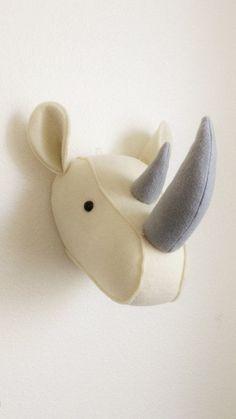Rhinoceros / Felt animal head / wall decor / baby room / safari decor / nursery decor / stuffed animals
