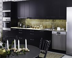 kitchen-diner black cabinets