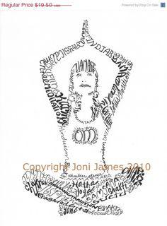 Yoga Girl Typography Pen and ink Drawing, Yoga Art Word Art Calligram Print, Yoga Typography Illustration, Yoga Drawing, Zen Art, Om Art