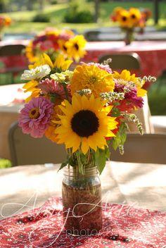 sunflowers and zinnias arrangement-rehearsal dinner