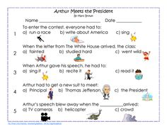 ARTHUR MEETS THE PRESIDENT 3 page PDF, free, work page, key, and coloring page from Wise Owl Factory.