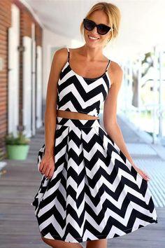 Wavy Striped, Crop Top & Skirt Suit.