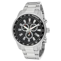 Invicta Men's 1555 Specialty Chronograph Black Dial Stainless Steel Watch Invicta. $79.00. Chronograph functions with 60 second, 30 minute and date subdials; date window at 4:00. Water-resistant to 100 M (330 feet). Flame-fusion crystal; stainless steel case and bracelet. Swiss quartz movement. Black dial with silver tone and white hands and hour markers; luminous; stainless steel bezel with tachymeter scale on black top ring. Save 90% Off!