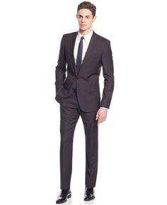 HUGO by Hugo Boss Black Plaid Slim-Fit Suit - Suits & Suit Separates -