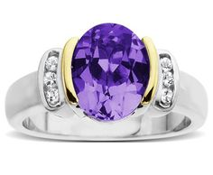 Silver and 14k Yellow Gold White Topaz and Oval Amethyst Ring ►► http://www.gemstoneslist.com/jewelry/silver-amethyst-rings.html?i=p