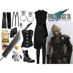 Cloud - Final Fantasy 7 by chelseasayswhat on Polyvore featuring polyvore, Mode, style, Korlekie, Opening Ceremony, Lanvin, Demonia, Topshop, L'Oréal Paris and Brunello Cucinelli