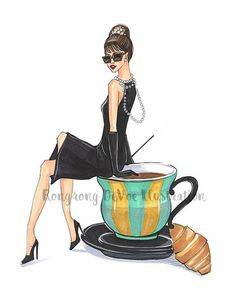 Breakfast with Audrey illustration, Audrey Hepburn Fashion illustration,Tiffany fashion art, Fashion wall art,Fashion Poster/afflink Coffee Illustration, Illustration Mode, Illustrations, Audrey Hepburn Illustration, Fashion Illustration Chanel, Canvas Art Prints, Canvas Wall Art, Dibujos Pin Up, Photo Humour