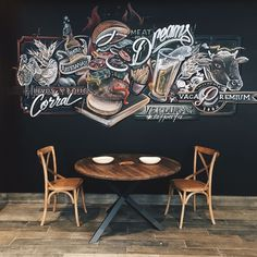 --- Chalkboard mural for the hamburgers restaurant. Interior design for the restaurant. Mural Cafe, Cafe Wall, Cafe Interior Design, Cafe Design, Logo Restaurant, Restaurant Design, Coffee Shop Design, Wall Drawing, Mural Wall Art