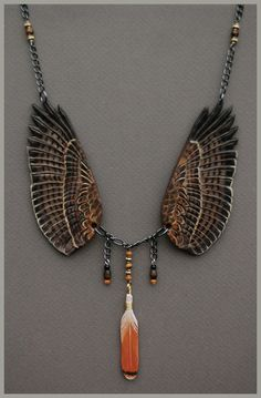 Red Tailed Hawk Wings - Leather Pendant by *windfalcon on deviantART