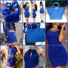 Love the royal blue color Arab Fashion, Blue Fashion, Fashion Outfits, Womens Fashion, Fashion Trends, Fashion Sets, Ladies Fashion, All Blue Colors, Color Blue