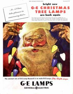 1945 GE Christmas lights ad. The Saturday Evening Post.