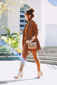 STYLECASTER | 25 Ways to Wear a Monochromatic Outfit | Camel Pantsuit