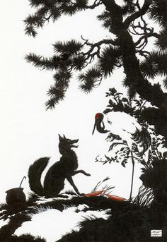 'The crane pecked with his bill, knocked and knocked at the dish, but nothing got into his mouth, while the fox lapped and lapped the gruel until she had eaten it all'  Illustration for The Fox and the Crane.