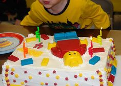 Lego silicone cake mold used to make candy melts Lego man on top of cake.