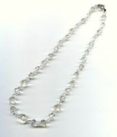 Vtg Art Deco Clear Crystal Glass Mixed Shape Bead Grad Choker Necklace 17-3/4""