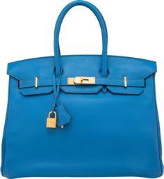 Hermes 35cm Mykonos Swift Leather Birkin Bag with Gold…