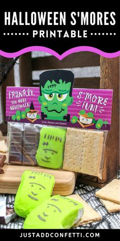 These Halloween s'mores are so cute and easy to make. All you need are chocolate bars, graham crackers, marshmallows and my Frankenstein Halloween s'mores printable. This would be a perfect Halloween treat for school classroom parties, play dates or any kids Halloween party! S'mores are a fall favorite. Why not make it a fun Halloween food too! The Halloween s'mores printable is available in my Just Add Confetti Etsy shop. Also, head to justaddconfetti.com for even more easy Halloween ideas.