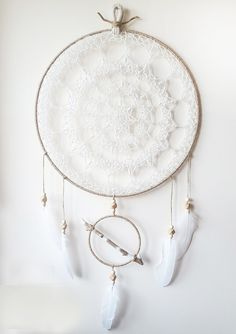 Extra Large Crochet Dreamcatcher with Hand-Painted Driftwood