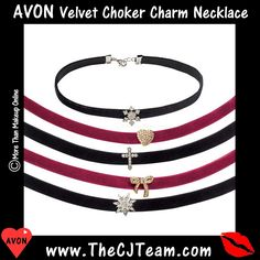 #Avon #Velvet #Choker Charm Necklace. The stretch velvet choker is an in-charge accessory balanced by a petite, sweet rhinestone. Available in Snowflake, Bow, Cross, Heart, Star or Cross. Reg. $7.99. Shop online with FREE shipping with any $40 online Avon purchase. #CJTeam #Avon #Style #Sale #Jewelry #Necklace #Womens #C25 #Jewelry #Gift Shop Avon jewelry online @ www.TheCJTeam.com.