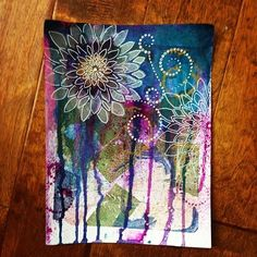 Mixed Media Gelli print with ink and stamps www.melsartjournal.wordpress.com