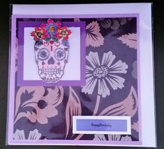 """Hand painted 5"""" x 5"""" Birthday  Card - Frida Candy Skull by Prettythings20 on Etsy"""