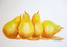 This is an original watercolor painting of four pears by Koni Frazer. Description from etsy.com. I searched for this on bing.com/images