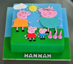 Peppa Pig cake for Hannah Tortas Peppa Pig, Fiestas Peppa Pig, Peppa Pig Birthday Cake, Minion Birthday, Peppa Pig Family, Second Birthday Ideas, Cherry Cake, Pig Party, Party Cakes