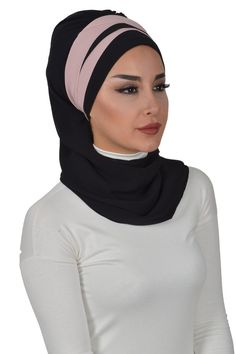 Product Information : Double Color Ready To Wear Hijab Fabric : Chiffon Size : Standard Bridal Hijab, Head Wraps, Ready To Wear, Chiffon, Trending Outfits, Unique Jewelry, Etsy, Om, How To Wear