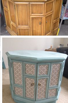 Before and after hexagon table upcycle chalk paint annie sloan in