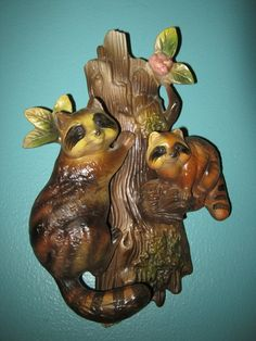 Napcoware Raccoon Wall Pocket, Mother And Baby In A Tree, Ceramic #C-7594, by Junkblossoms on Etsy