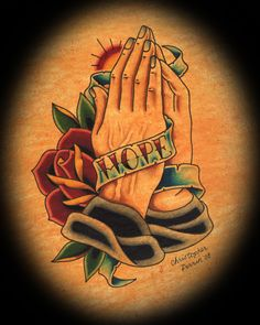Hope Banner and Praying Hands by Christopher Perrin Tattoo Art Print