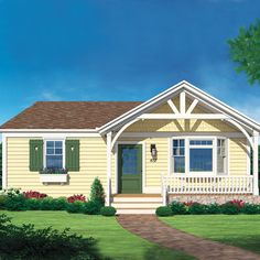 Exterior of the Matthers home after photoshop redo.  Like the shingle siding in the gable, and the open trusses on the front of the porch.