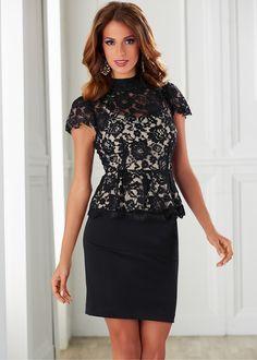 Festliches Kleid mit Spitze und Schößchen - schwarz