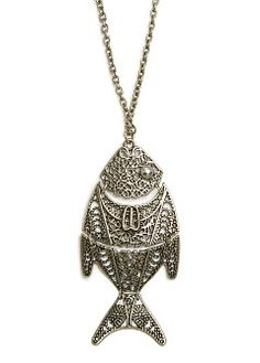 MANGO - Sale - Jewellery - Hinged fish long necklace