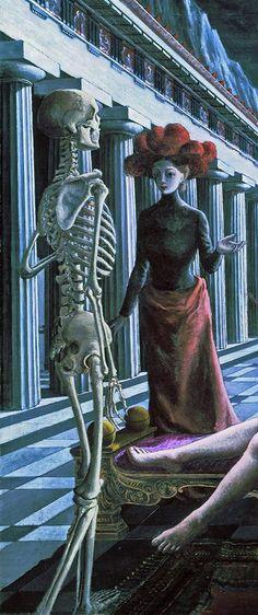 Detalle de La Venus dormida, de Paul Delvaux 1944