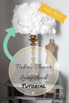 Fabric Flower Lampshade DIY Tutorial from Heathered Nest...  http://www.heatherednest.com/2014/08/shedding-light-on-easy-ish-diy-fabric.html