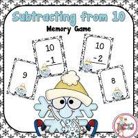 FREE Subtracting from a 10 Memory Match Game 2nd Grade Classroom, 1st Grade Math, Kindergarten Math, Grade 1, Second Grade, Subtraction Games, Addition And Subtraction, Fun Math, Math Games