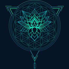 Lotus Flower Of Life Mandala In Geometric Triangle Sticker By Rogie Design By Hu. Lotus Flower Of Lotus Flower Art, White Lotus Flower, Lotus Flower Design, Lotus Art, Geometric Flower, Flower Mandala, Lotus Mandala Design, Flower Of Life Tattoo, Flower Tattoo Designs