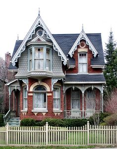 Cabbagetown, Toronto. It has a lot in style with victorians of Toronto; terra cotta, vergeboards, gables with bays, contrasting yellow and orange brick, and a veranda tops it off. This house is on Sumach Street near Necropolis. The Toronto Project
