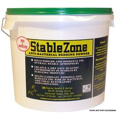 Animal Health Company Stable Zone Anti-Bacterial Bedding Powder An antibacterial bedding powder It eliminates ammonia reduces viral and bacterial contamination.