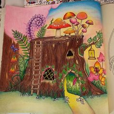 Johanna Basford Coloring Book, Coloring Books, Painting, Art, Enchanted Forest Book, Wood Trunk, Faeries, Colouring In, Nature