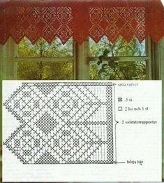 Crochet Curtain Pattern, Crochet Curtains, Curtain Patterns, Lace Curtains, Doily Patterns, Crochet Patterns, Valance, Filet Crochet, Crochet Art