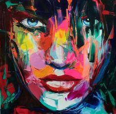 Gran-pintado-a-mano-Arte-oleo-Pintura-Pared-Decoracion-Figura-De-Lona-Mujer-Cara