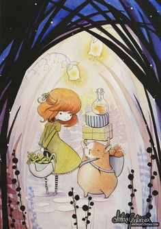 Hamster Errands ---- The local fairy doctor has a new helper; he's carrying her bags and she can gather herbs in peace ---- watercolors, gouache and colored pencils on paper ---- Anita Gadzinska, children illustrator. Visit http://anitagadzinska.com if you're interested in my portfolio or would like to know more about me~