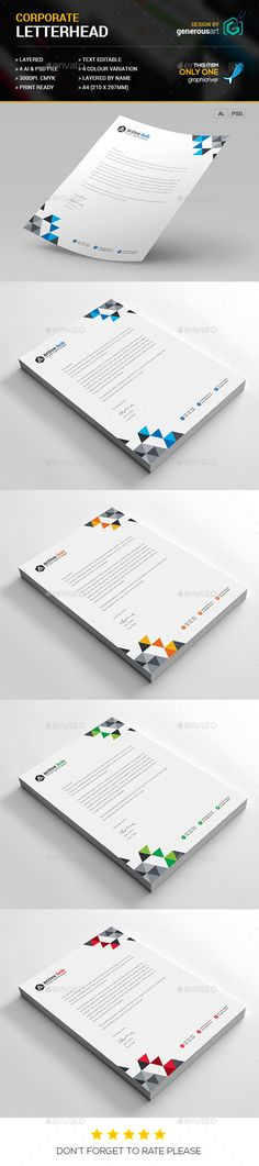 #Corporate #Letterhead - #Stationery #Print #Templates Download here: https://graphicriver.net/item/corporate-letterhead/13063708?ref=alena994