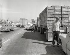 Hitting the Sauce: Oldsmobile hit a Hunts Tomato truck in Oakland, California ca. 1958.