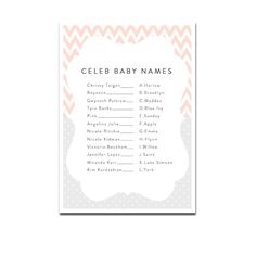 Baby Shower Game - Celeb Baby Names - Peach Gray Chevron - Instant Download Printable