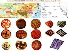 Marea migraţie: Cucuteni-Tripolie, Yangshao, Ban-Chiang, Jomon, Valdivia, Anasazi-Mogollon Old Pottery, Cards, Maps, Playing Cards