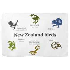 "6 New Zealand birds Towel. 6 New Zealand birds. I used Koru patterns. The koru (Māori for ""loop"" is a spiral shape based on the shape of a new unfurling silver fern frond and symbolizing new life, growth, strength and peace. New Zealand has so many wonderful birds, we are lucky to have them. Featuring Takahe, Kiwi, Fantail, Silvereye, Rock Wren, and Tomtit. A great gift for a Kiwi who misses home, or even one that you want to remind how great home is."