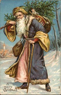 """A Merry Christmas"" postcard with a purple robed Father Christmas, Vintage Christmas Images, Victorian Christmas, Retro Christmas, Christmas Pictures, Christmas Art, Christmas Gifts, German Christmas, Xmas, Merry Christmas Santa"